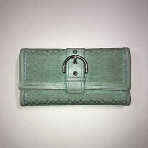 Coach Turquoise Wallet with Checkbook Cover